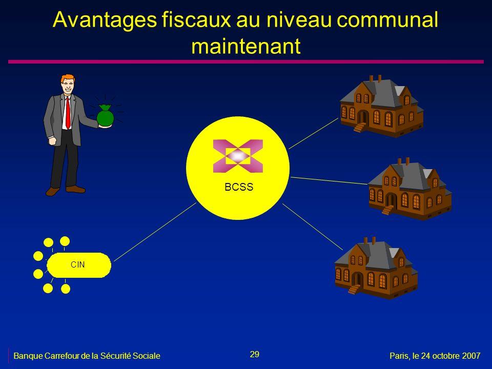 29 Banque Carrefour de la Sécurité SocialeParis, le 24 octobre 2007 Avantages fiscaux au niveau communal maintenant BCSS CIN