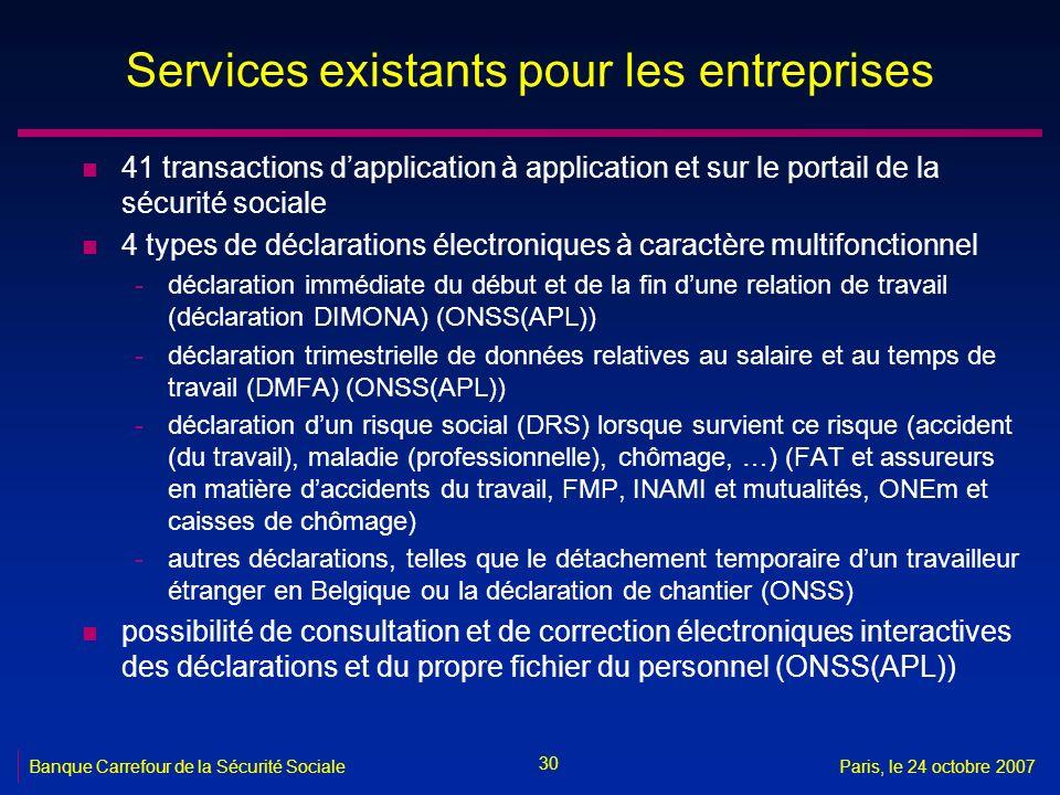 30 Banque Carrefour de la Sécurité SocialeParis, le 24 octobre 2007 Services existants pour les entreprises n 41 transactions dapplication à applicati