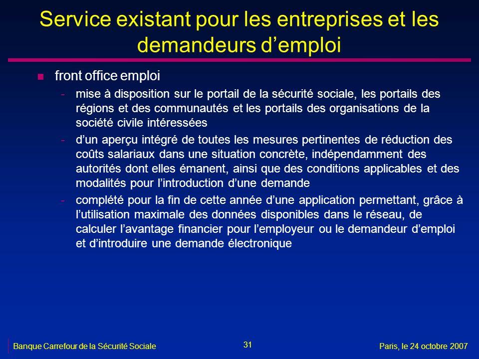 31 Banque Carrefour de la Sécurité SocialeParis, le 24 octobre 2007 Service existant pour les entreprises et les demandeurs demploi n front office emp