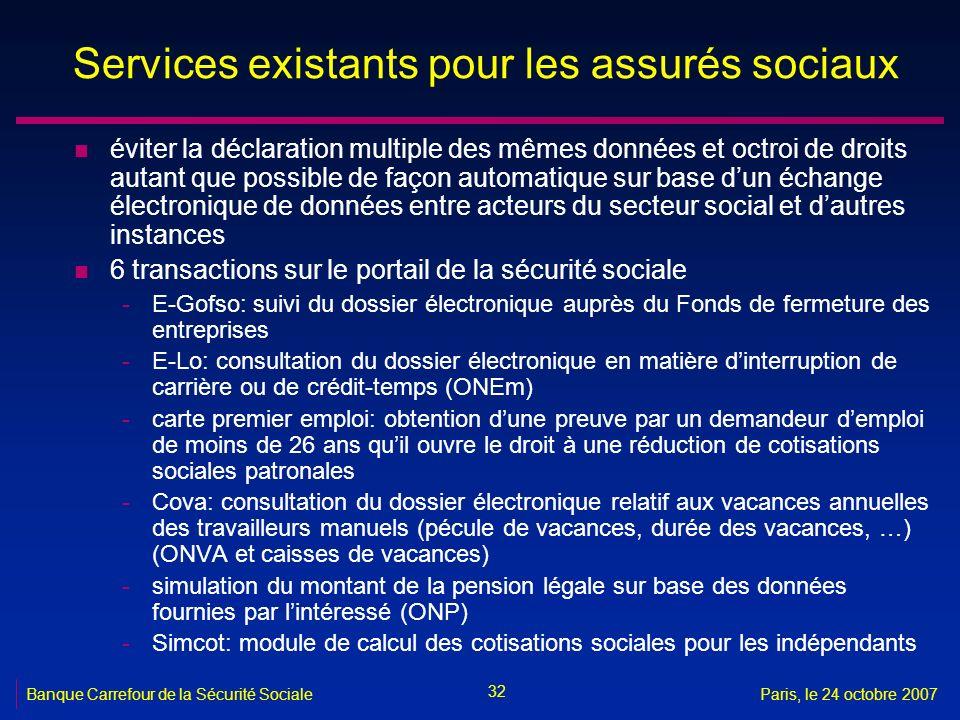 32 Banque Carrefour de la Sécurité SocialeParis, le 24 octobre 2007 Services existants pour les assurés sociaux n éviter la déclaration multiple des m