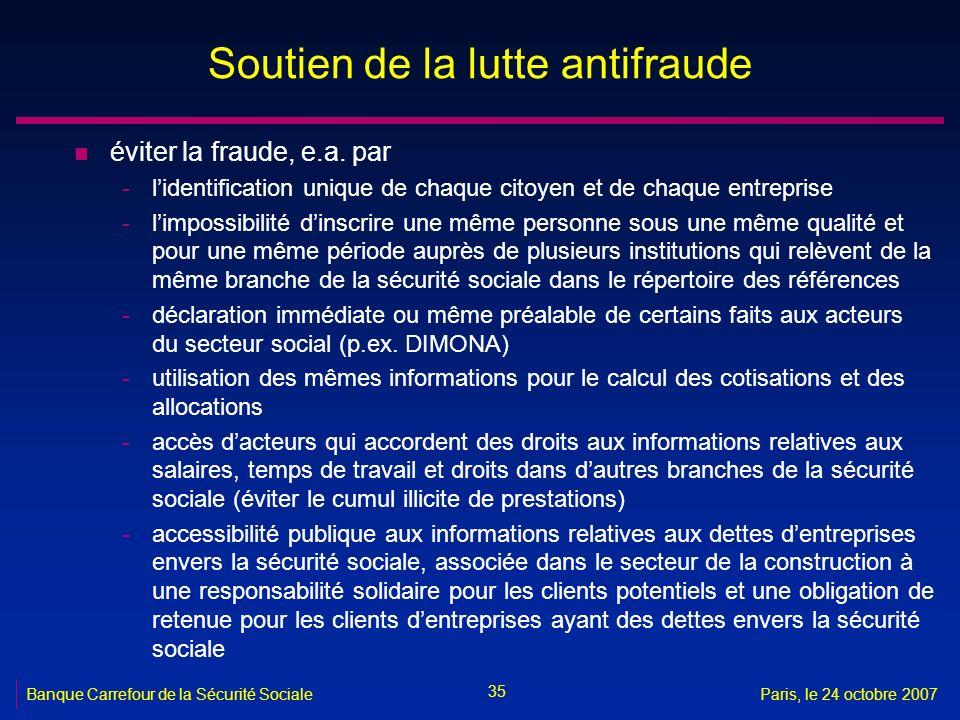 35 Banque Carrefour de la Sécurité SocialeParis, le 24 octobre 2007 Soutien de la lutte antifraude n éviter la fraude, e.a. par -lidentification uniqu