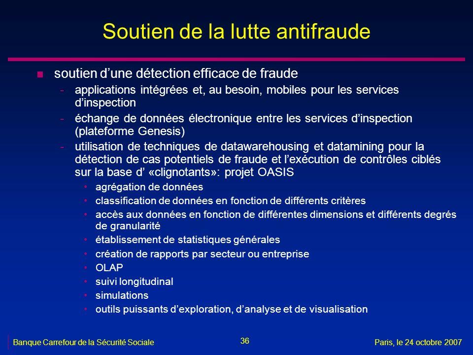 36 Banque Carrefour de la Sécurité SocialeParis, le 24 octobre 2007 Soutien de la lutte antifraude n soutien dune détection efficace de fraude -applic