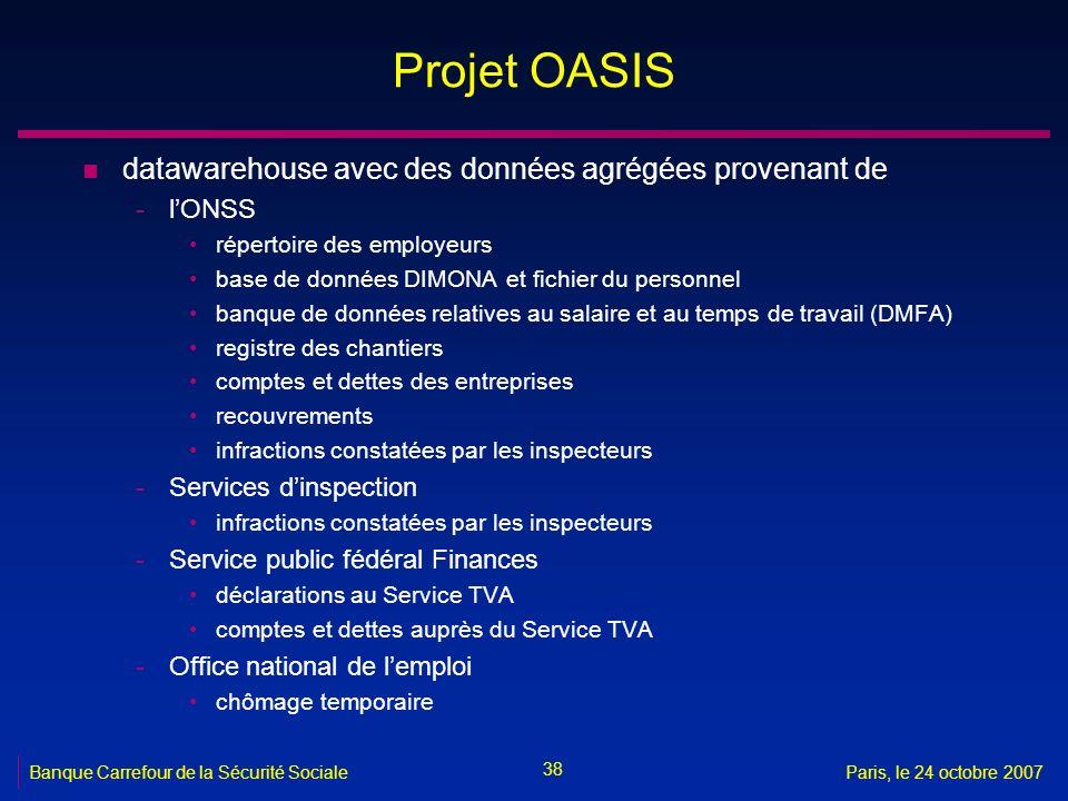 38 Banque Carrefour de la Sécurité SocialeParis, le 24 octobre 2007 Projet OASIS n datawarehouse avec des données agrégées provenant de -lONSS réperto