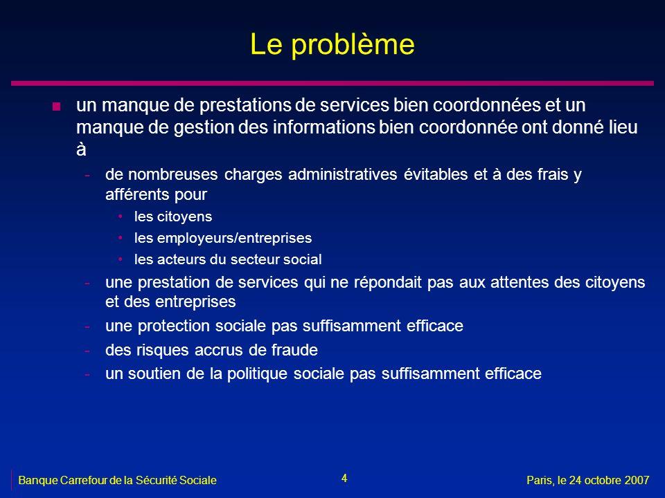 4 Banque Carrefour de la Sécurité SocialeParis, le 24 octobre 2007 Le problème n un manque de prestations de services bien coordonnées et un manque de