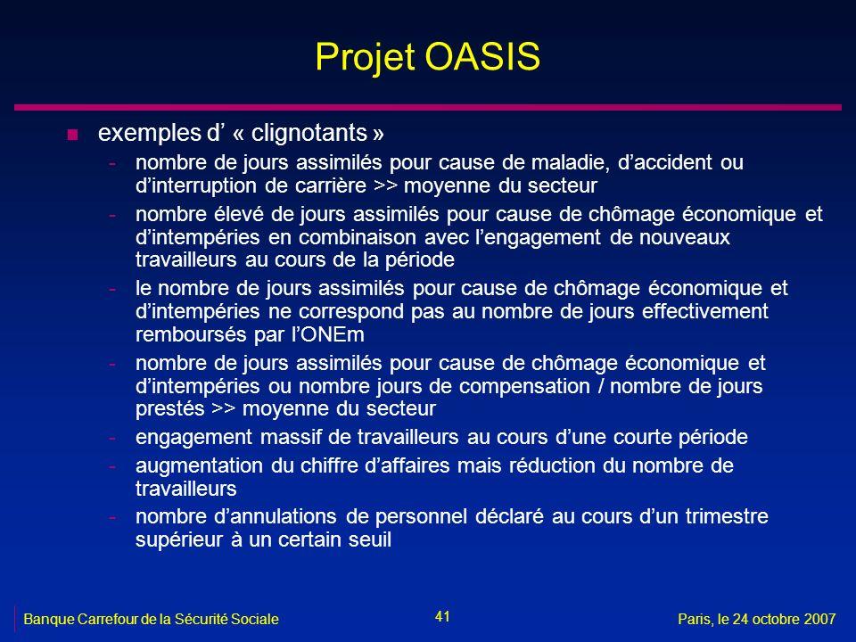 41 Banque Carrefour de la Sécurité SocialeParis, le 24 octobre 2007 Projet OASIS n exemples d « clignotants » -nombre de jours assimilés pour cause de