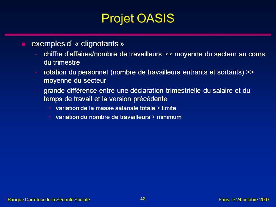 42 Banque Carrefour de la Sécurité SocialeParis, le 24 octobre 2007 Projet OASIS n exemples d « clignotants » -chiffre daffaires/nombre de travailleur