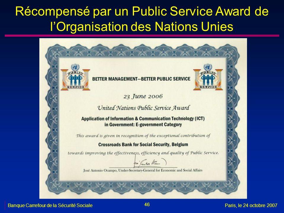 46 Banque Carrefour de la Sécurité SocialeParis, le 24 octobre 2007 Récompensé par un Public Service Award de lOrganisation des Nations Unies