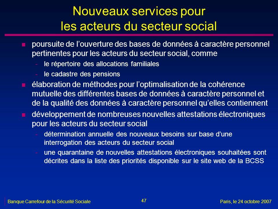 47 Banque Carrefour de la Sécurité SocialeParis, le 24 octobre 2007 Nouveaux services pour les acteurs du secteur social n poursuite de louverture des