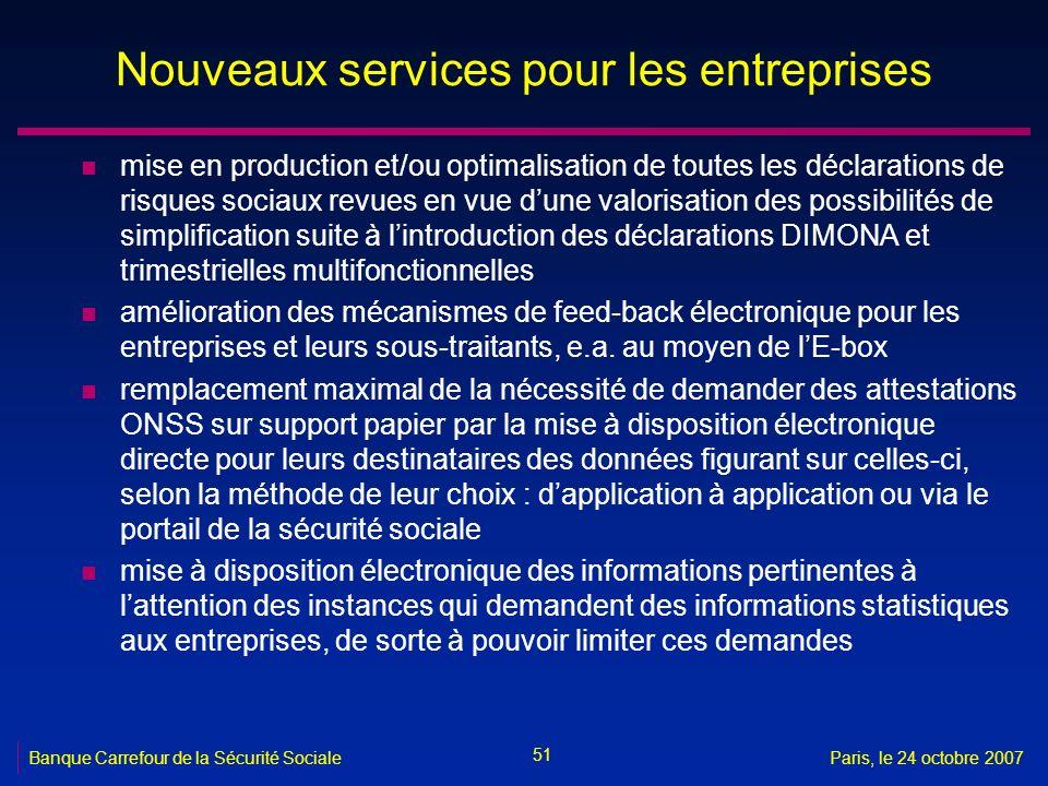 51 Banque Carrefour de la Sécurité SocialeParis, le 24 octobre 2007 Nouveaux services pour les entreprises n mise en production et/ou optimalisation d