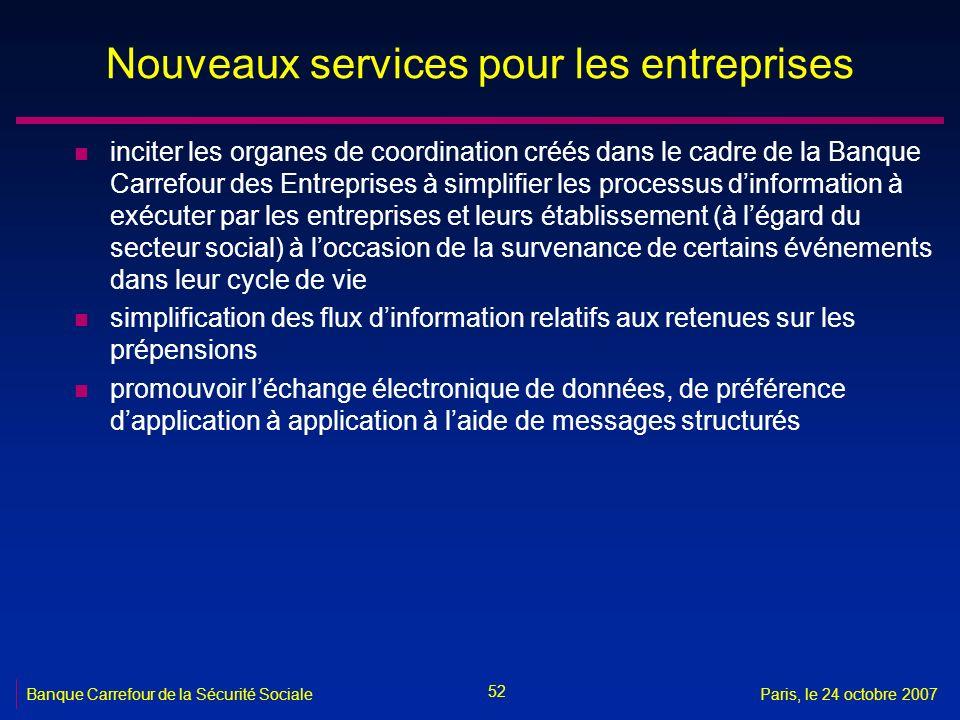 52 Banque Carrefour de la Sécurité SocialeParis, le 24 octobre 2007 Nouveaux services pour les entreprises n inciter les organes de coordination créés