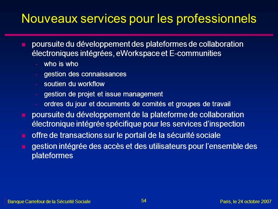 54 Banque Carrefour de la Sécurité SocialeParis, le 24 octobre 2007 Nouveaux services pour les professionnels n poursuite du développement des platefo