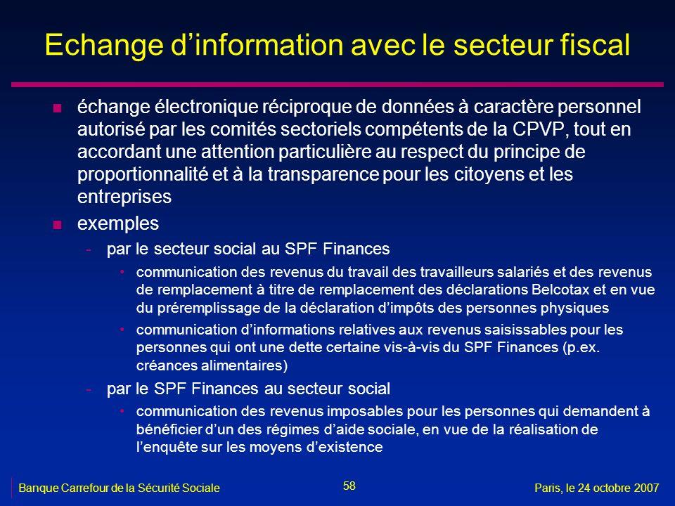 58 Banque Carrefour de la Sécurité SocialeParis, le 24 octobre 2007 Echange dinformation avec le secteur fiscal n échange électronique réciproque de d