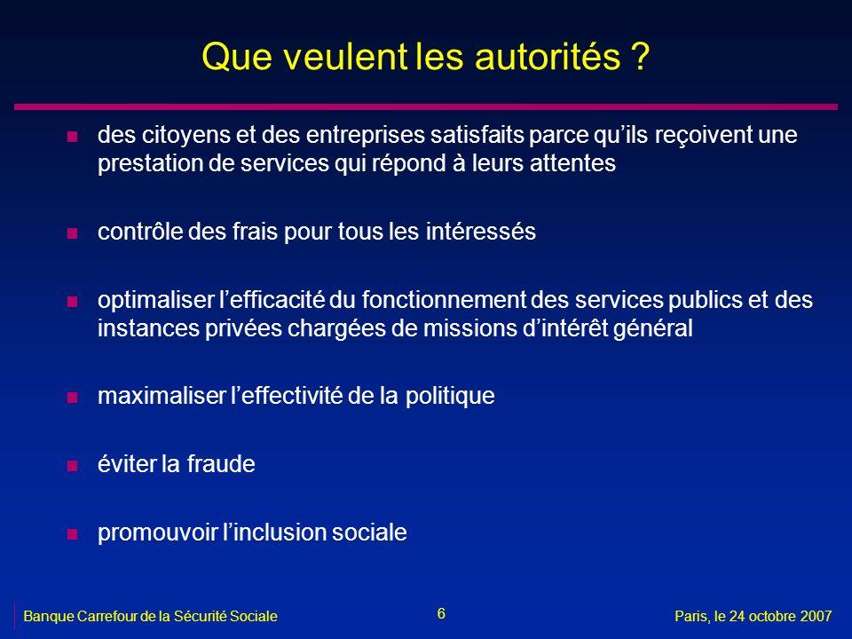 6 Banque Carrefour de la Sécurité SocialeParis, le 24 octobre 2007 Que veulent les autorités ? n des citoyens et des entreprises satisfaits parce quil