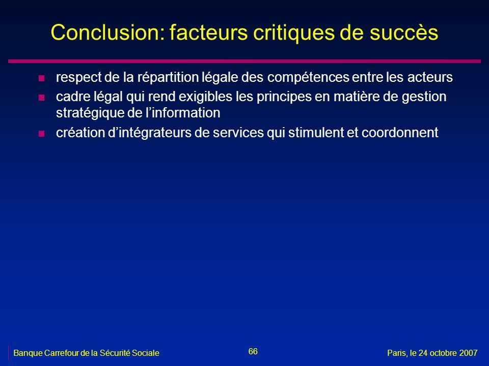 66 Banque Carrefour de la Sécurité SocialeParis, le 24 octobre 2007 Conclusion: facteurs critiques de succès n respect de la répartition légale des co