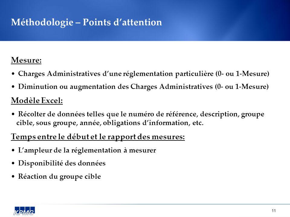 11 Méthodologie – Points dattention Mesure: Charges Administratives dune réglementation particulière (0- ou 1-Mesure) Diminution ou augmentation des C