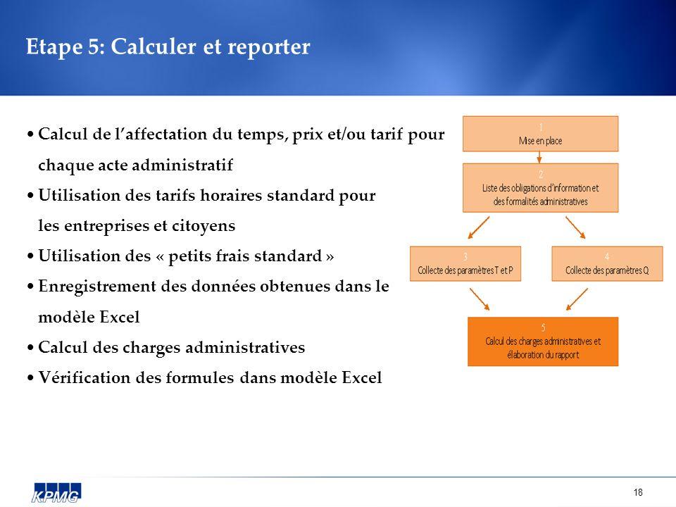 18 Etape 5: Calculer et reporter Calcul de laffectation du temps, prix et/ou tarif pour chaque acte administratif Utilisation des tarifs horaires stan