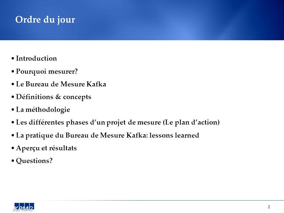 2 Ordre du jour Introduction Pourquoi mesurer? Le Bureau de Mesure Kafka Définitions & concepts La méthodologie Les différentes phases dun projet de m