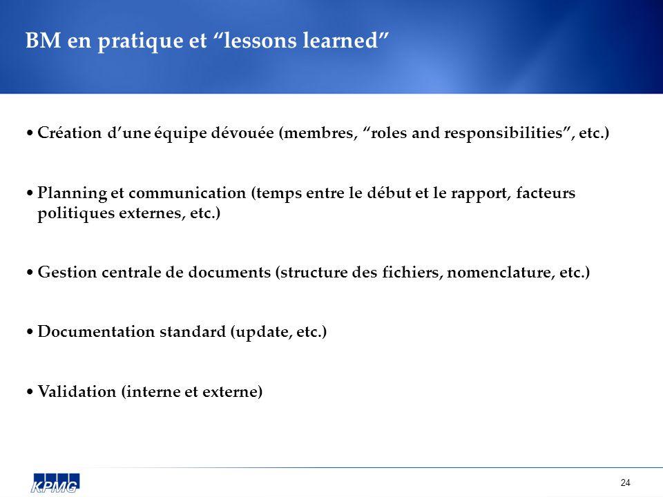 24 BM en pratique et lessons learned Création dune équipe dévouée (membres, roles and responsibilities, etc.) Planning et communication (temps entre l