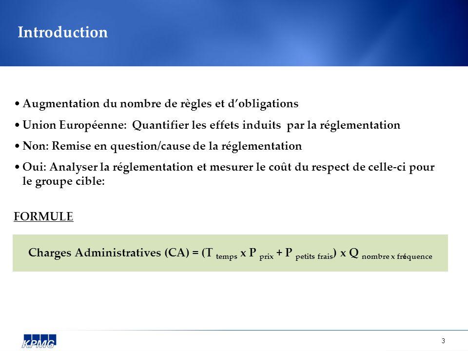 3 Introduction Augmentation du nombre de règles et dobligations Union Européenne: Quantifier les effets induits par la réglementation Non: Remise en question/cause de la réglementation Oui: Analyser la réglementation et mesurer le coût du respect de celle-ci pour le groupe cible: FORMULE Charges Administratives (CA) = (T temps x P prix + P petits frais ) x Q nombre x fr é quence