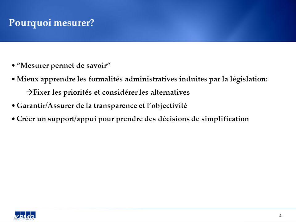 4 Pourquoi mesurer? Mesurer permet de savoir Mieux apprendre les formalités administratives induites par la législation: Fixer les priorités et consid