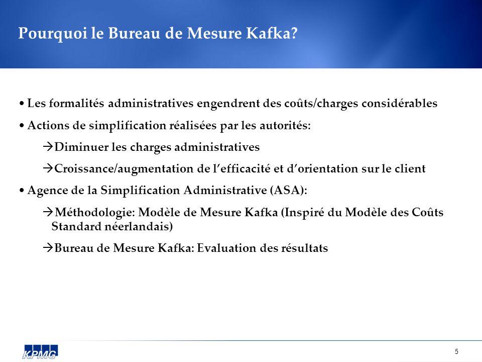 5 Pourquoi le Bureau de Mesure Kafka? Les formalités administratives engendrent des coûts/charges considérables Actions de simplification réalisées pa