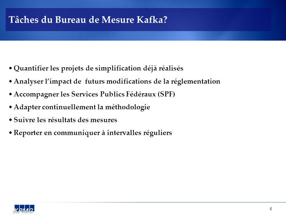 6 Tâches du Bureau de Mesure Kafka? Quantifier les projets de simplification déjà réalisés Analyser limpact de futurs modifications de la réglementati
