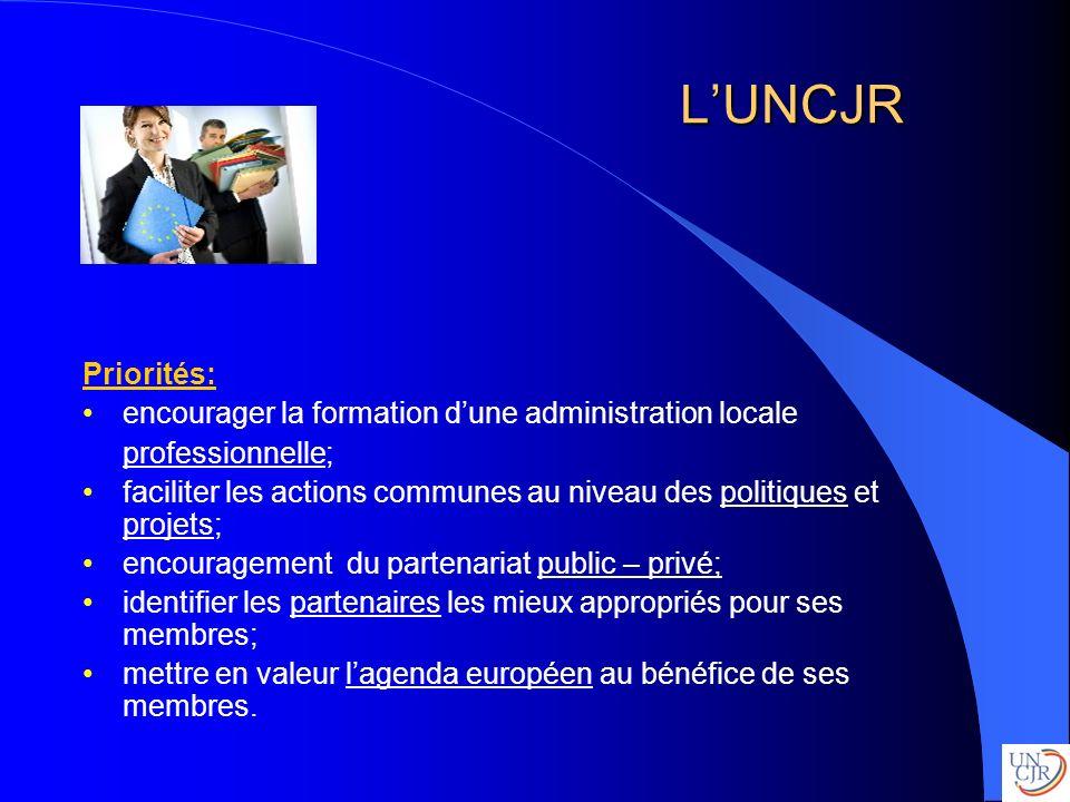 LUNCJR Priorités: encourager la formation dune administration locale professionnelle; faciliter les actions communes au niveau des politiques et proje