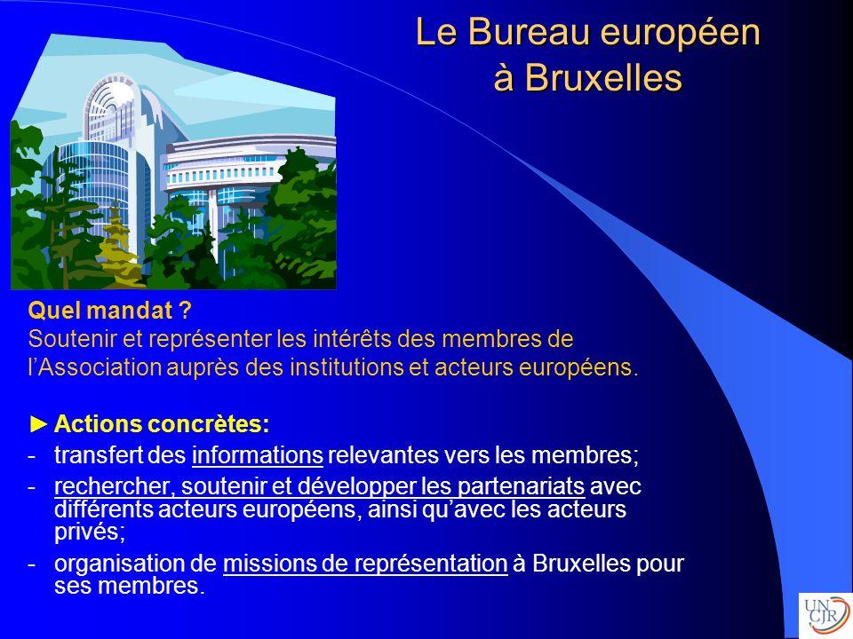 Le Bureau européen à Bruxelles Quel mandat ? Soutenir et représenter les intérêts des membres de lAssociation auprès des institutions et acteurs europ