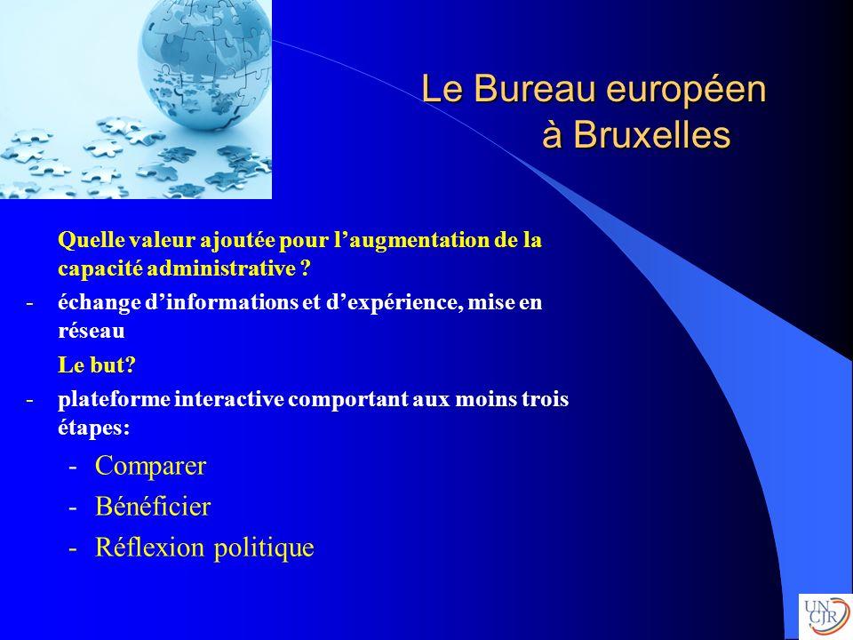 Le Bureau européen à Bruxelles Quelle valeur ajoutée pour laugmentation de la capacité administrative ? -échange dinformations et dexpérience, mise en