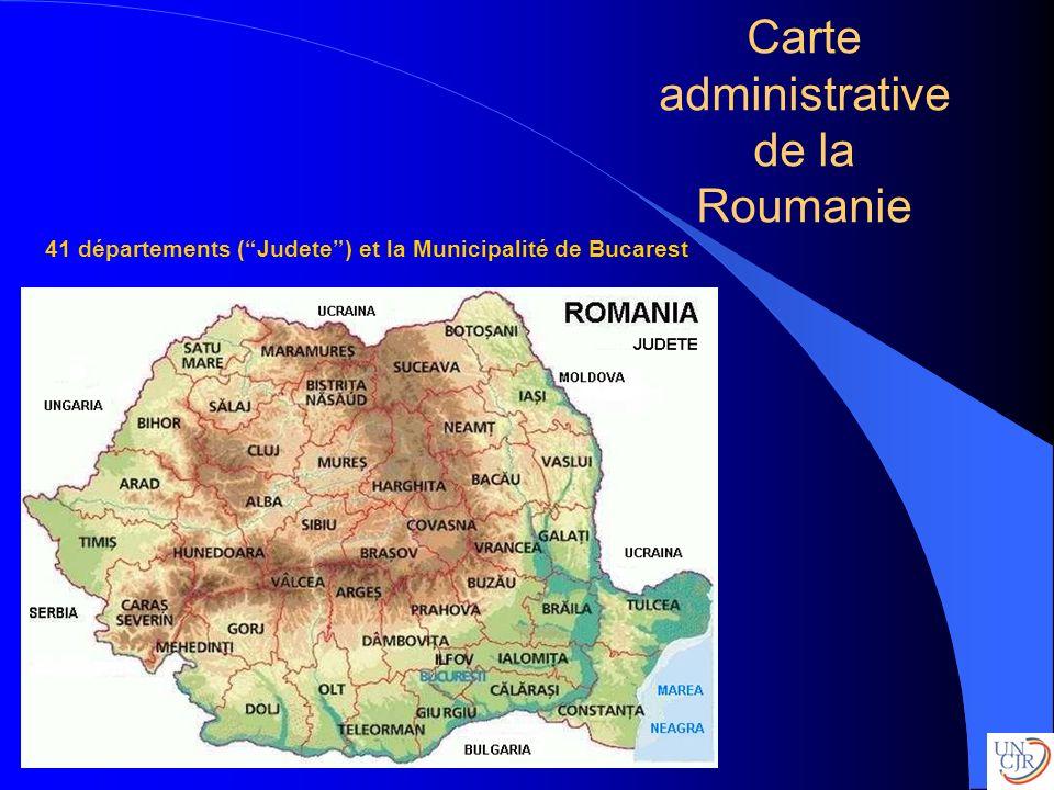 Carte administrative de la Roumanie 41 départements (Judete) et la Municipalité de Bucarest