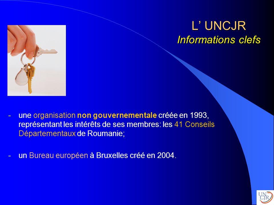L UNCJR Informations clefs -une organisation non gouvernementale créée en 1993, représentant les intérêts de ses membres: les 41 Conseils Départementa