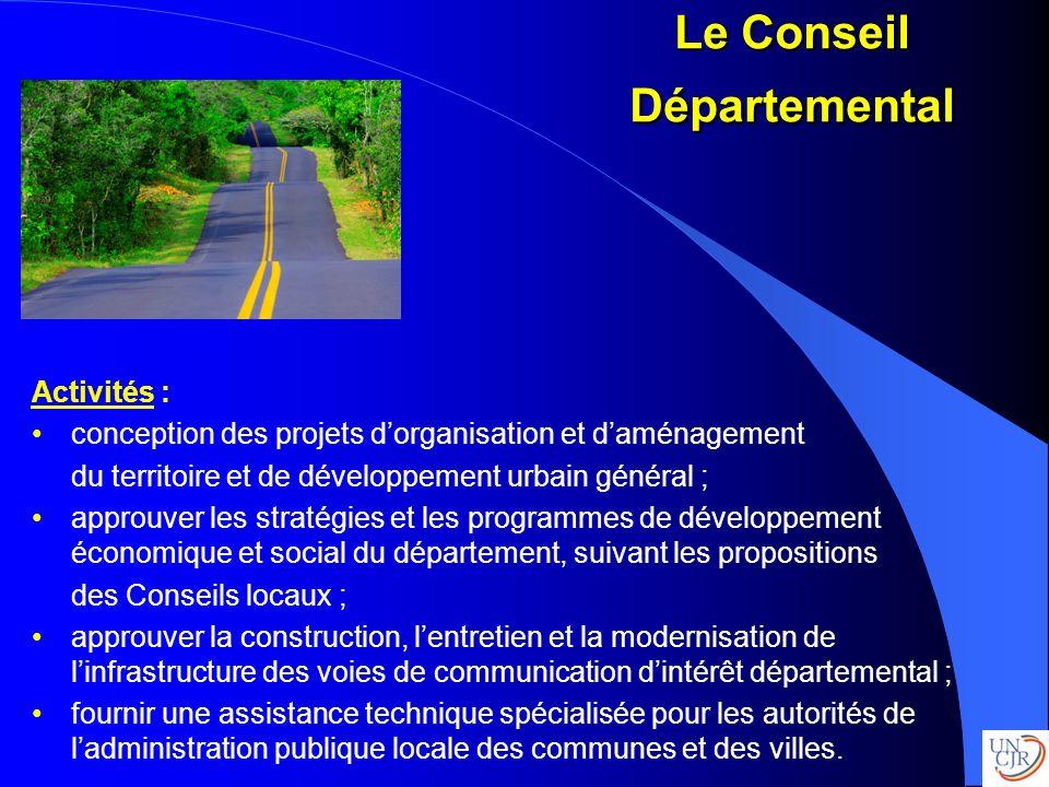 Activités : conception des projets dorganisation et daménagement du territoire et de développement urbain général ; approuver les stratégies et les pr