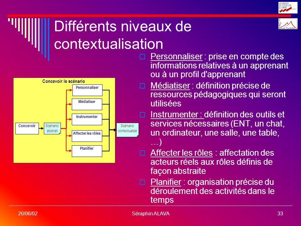 Séraphin ALAVA33 20/06/02 Différents niveaux de contextualisation Personnaliser : prise en compte des informations relatives à un apprenant ou à un pr