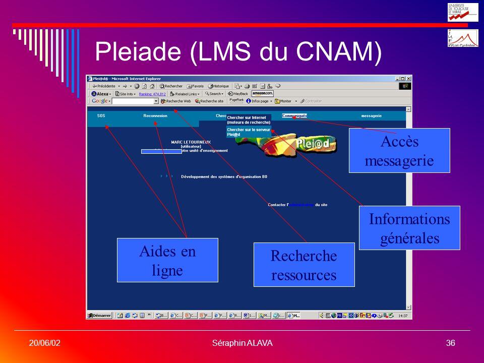 Séraphin ALAVA36 20/06/02 Pleiade (LMS du CNAM) Recherche ressources Informations générales Aides en ligne Accès messagerie