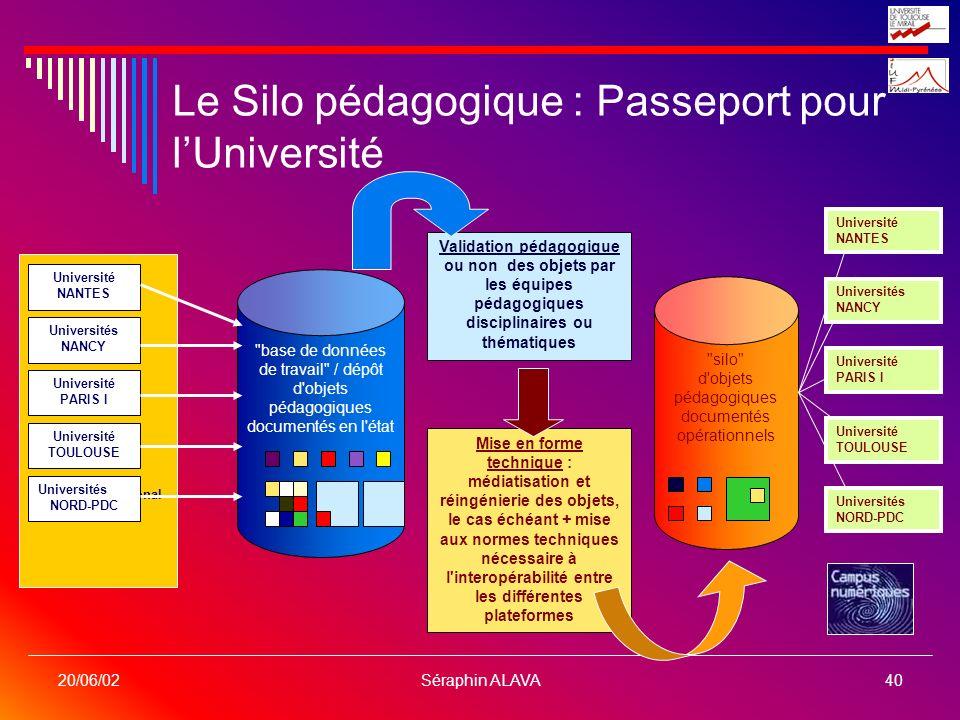 Séraphin ALAVA40 20/06/02 Le Silo pédagogique : Passeport pour lUniversité Consortium National