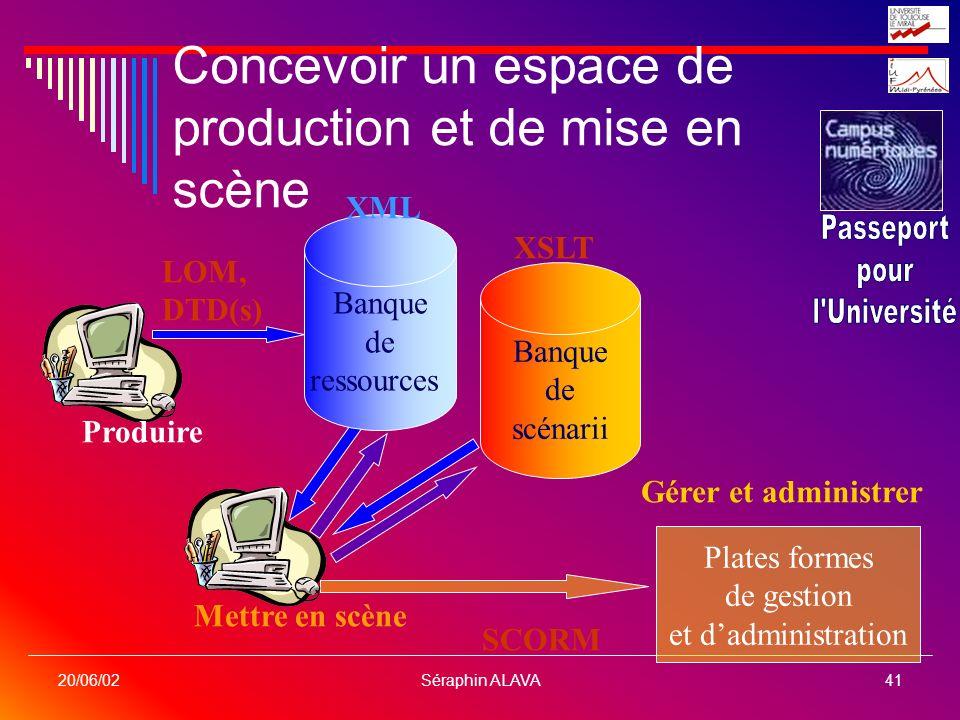 Séraphin ALAVA41 20/06/02 Concevoir un espace de production et de mise en scène Plates formes de gestion et dadministration Gérer et administrer SCORM