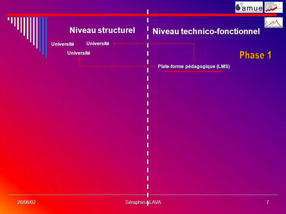 Séraphin ALAVA7 20/06/02 Niveau structurel Niveau technico-fonctionnel Université Plate-forme pédagogique (LMS)