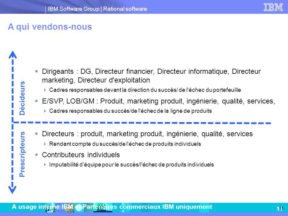 IBM Software Group   Rational software 11 A usage interne IBM et Partenaires commerciaux IBM uniquement A qui vendons-nous Dirigeants : DG, Directeur