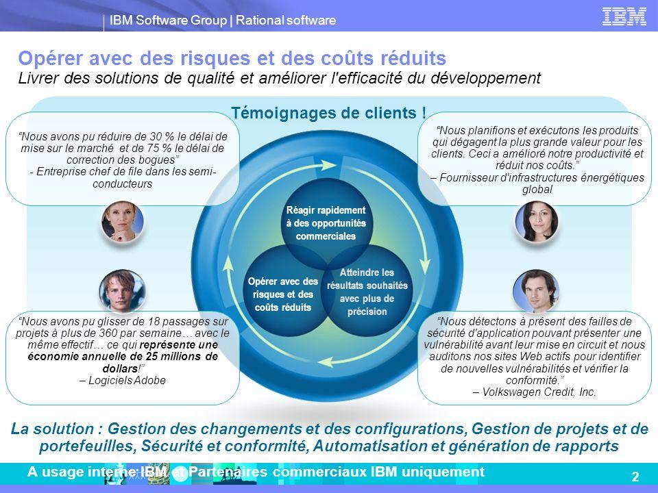 IBM Software Group | Rational software 3 A usage interne IBM et Partenaires commerciaux IBM uniquement Quels sont les déterminants des opportunités de ventes de portefeuilles de produits .