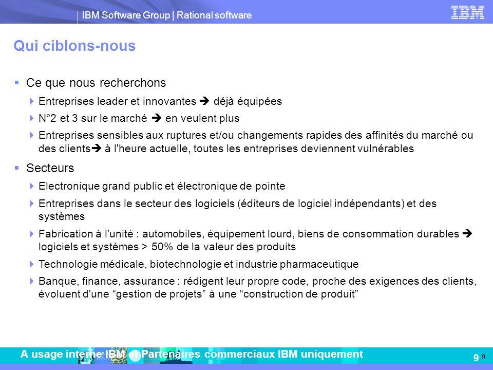 IBM Software Group   Rational software 9 A usage interne IBM et Partenaires commerciaux IBM uniquement Qui ciblons-nous Ce que nous recherchons Entrep