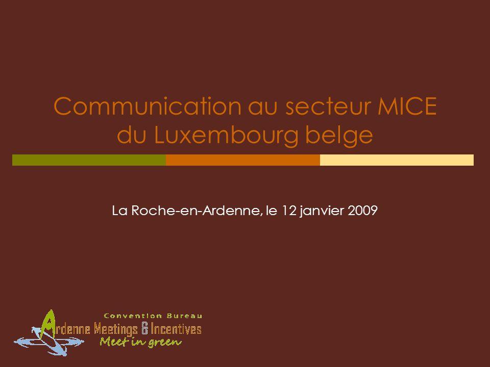 Communication au secteur MICE du Luxembourg belge La Roche-en-Ardenne, le 12 janvier 2009