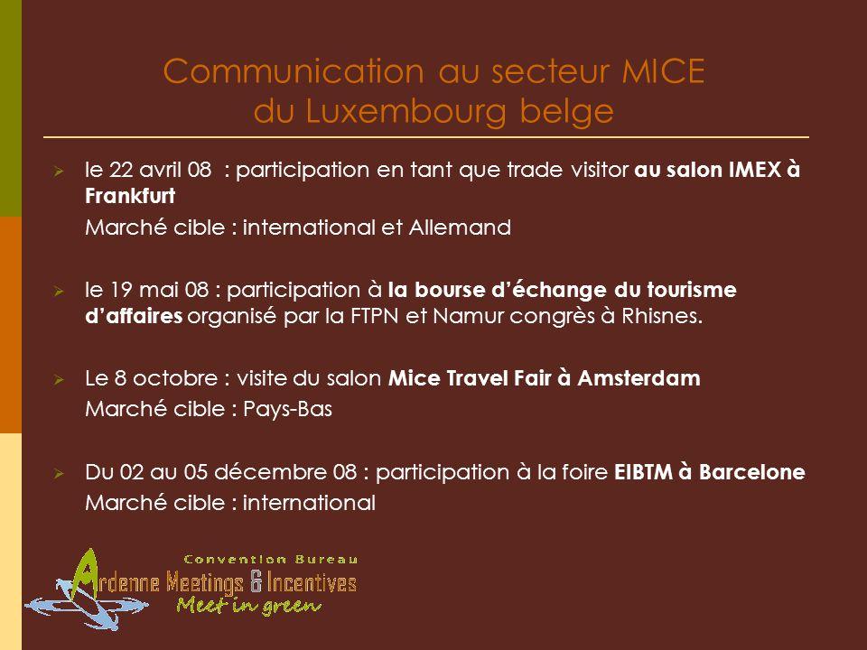 le 22 avril 08 : participation en tant que trade visitor au salon IMEX à Frankfurt Marché cible : international et Allemand le 19 mai 08 : participation à la bourse déchange du tourisme daffaires organisé par la FTPN et Namur congrès à Rhisnes.