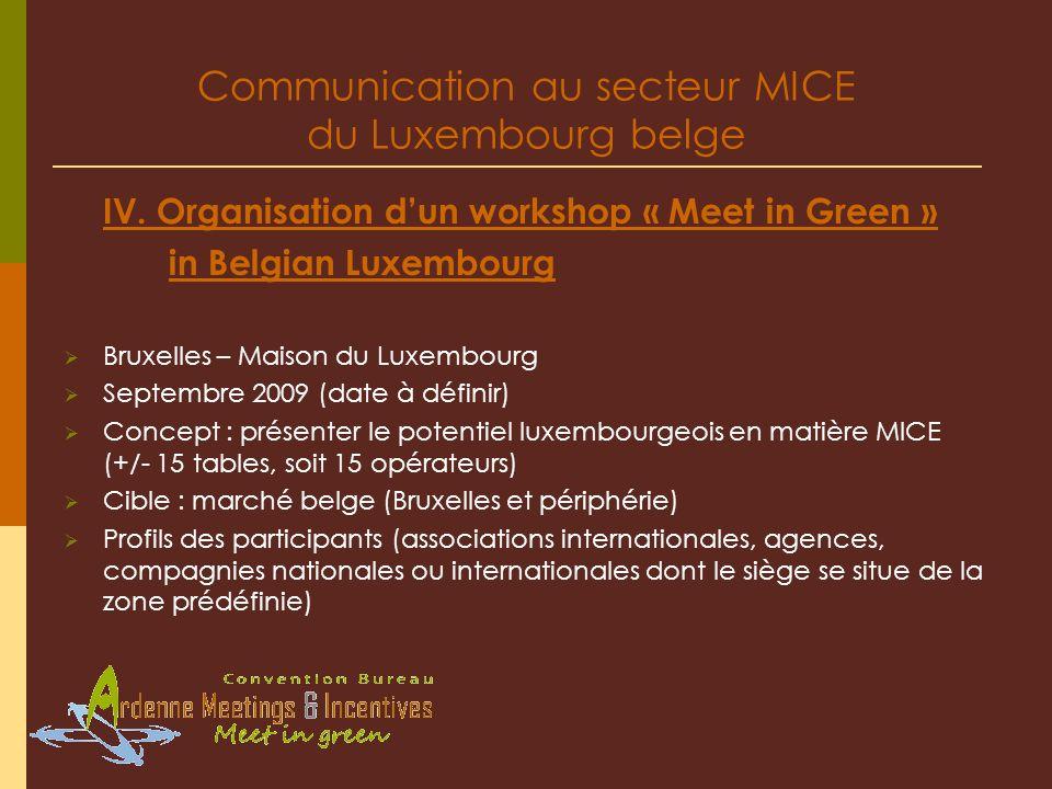Communication au secteur MICE du Luxembourg belge IV.