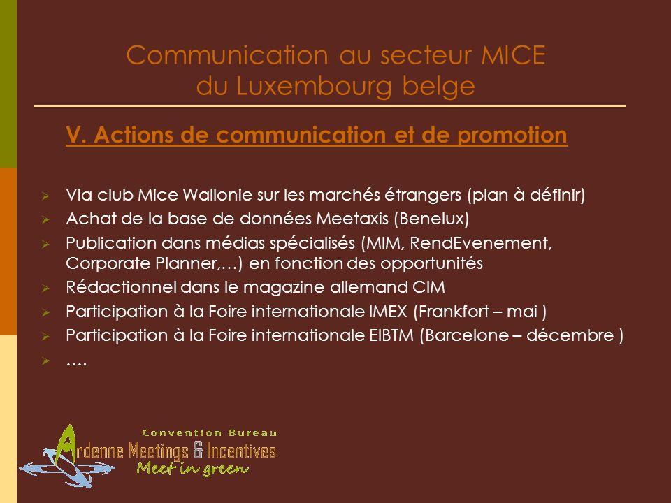 Communication au secteur MICE du Luxembourg belge V. Actions de communication et de promotion Via club Mice Wallonie sur les marchés étrangers (plan à