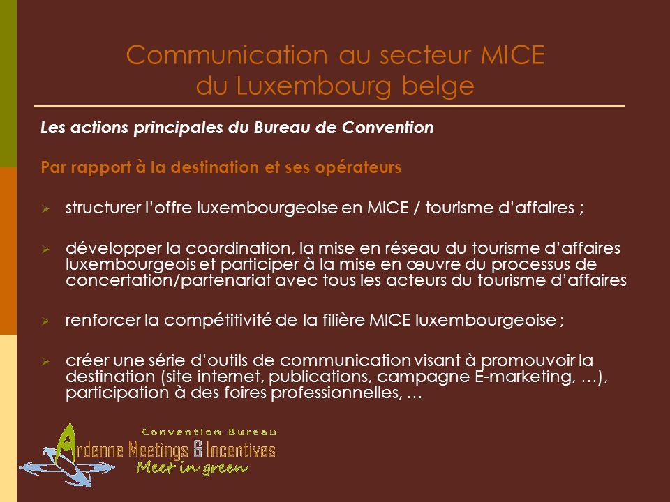 Communication au secteur MICE du Luxembourg belge Les actions principales du Bureau de Convention Par rapport à la destination et ses opérateurs struc