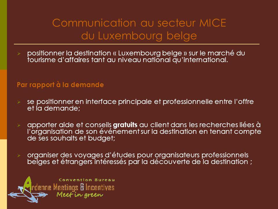 Communication au secteur MICE du Luxembourg belge positionner la destination « Luxembourg belge » sur le marché du tourisme daffaires tant au niveau n