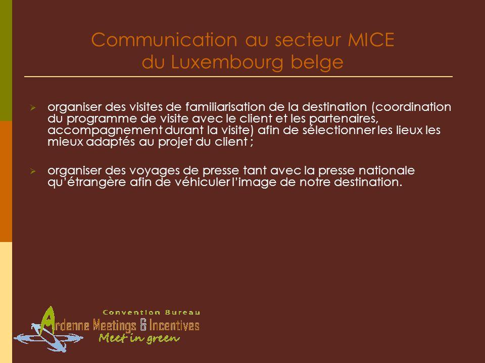 Communication au secteur MICE du Luxembourg belge organiser des visites de familiarisation de la destination (coordination du programme de visite avec