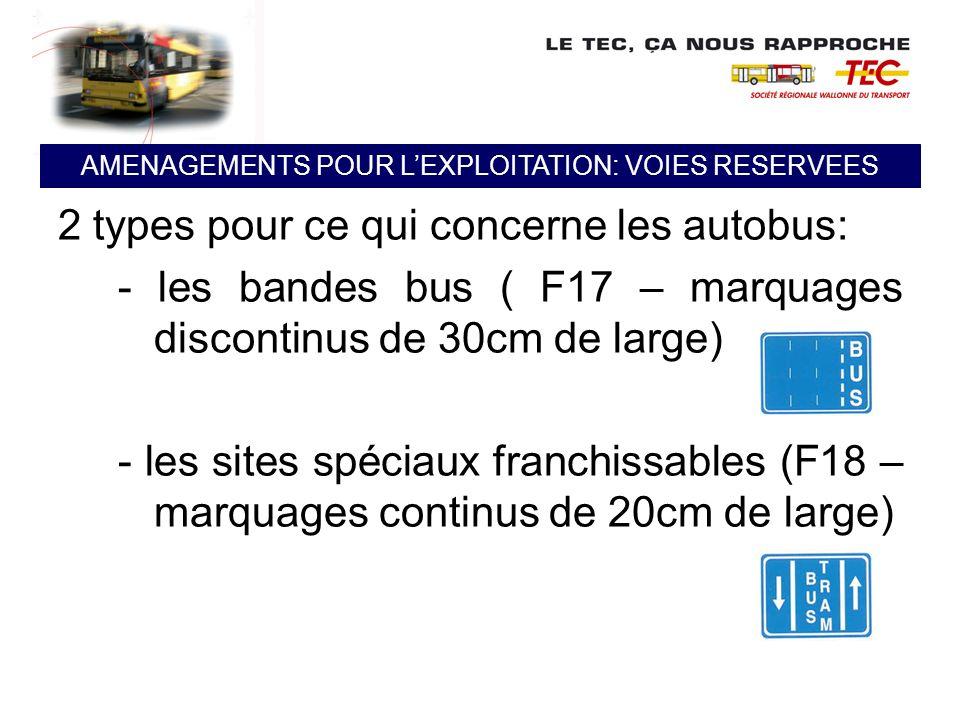 2 types pour ce qui concerne les autobus: - les bandes bus ( F17 – marquages discontinus de 30cm de large) - les sites spéciaux franchissables (F18 –
