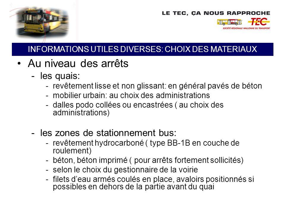 Au niveau des arrêts -les quais: -revêtement lisse et non glissant: en général pavés de béton -mobilier urbain: au choix des administrations -dalles p
