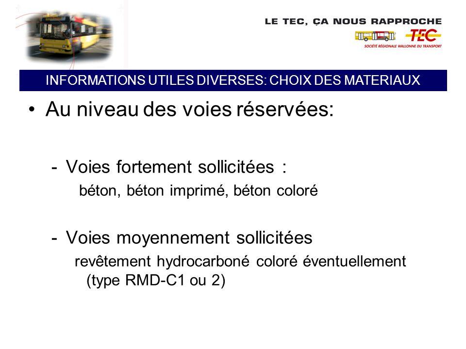 Au niveau des voies réservées: -Voies fortement sollicitées : béton, béton imprimé, béton coloré -Voies moyennement sollicitées revêtement hydrocarbon